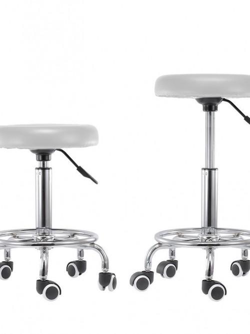 taboret stolek obrotowy kosmetyczny 2 bialy